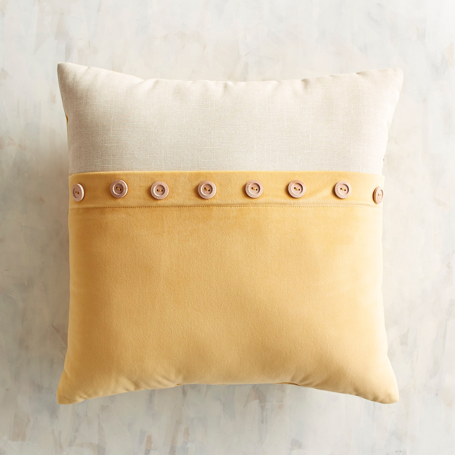 Plush Button Trim Honey Pillow