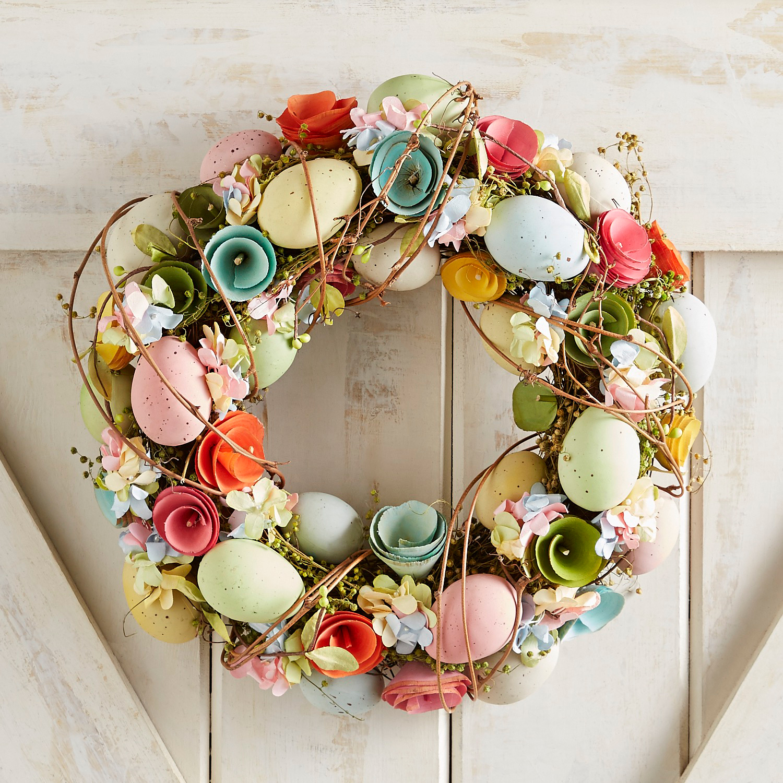 "Faux Flower & Easter Egg Wood Curl 14"" Wreath"