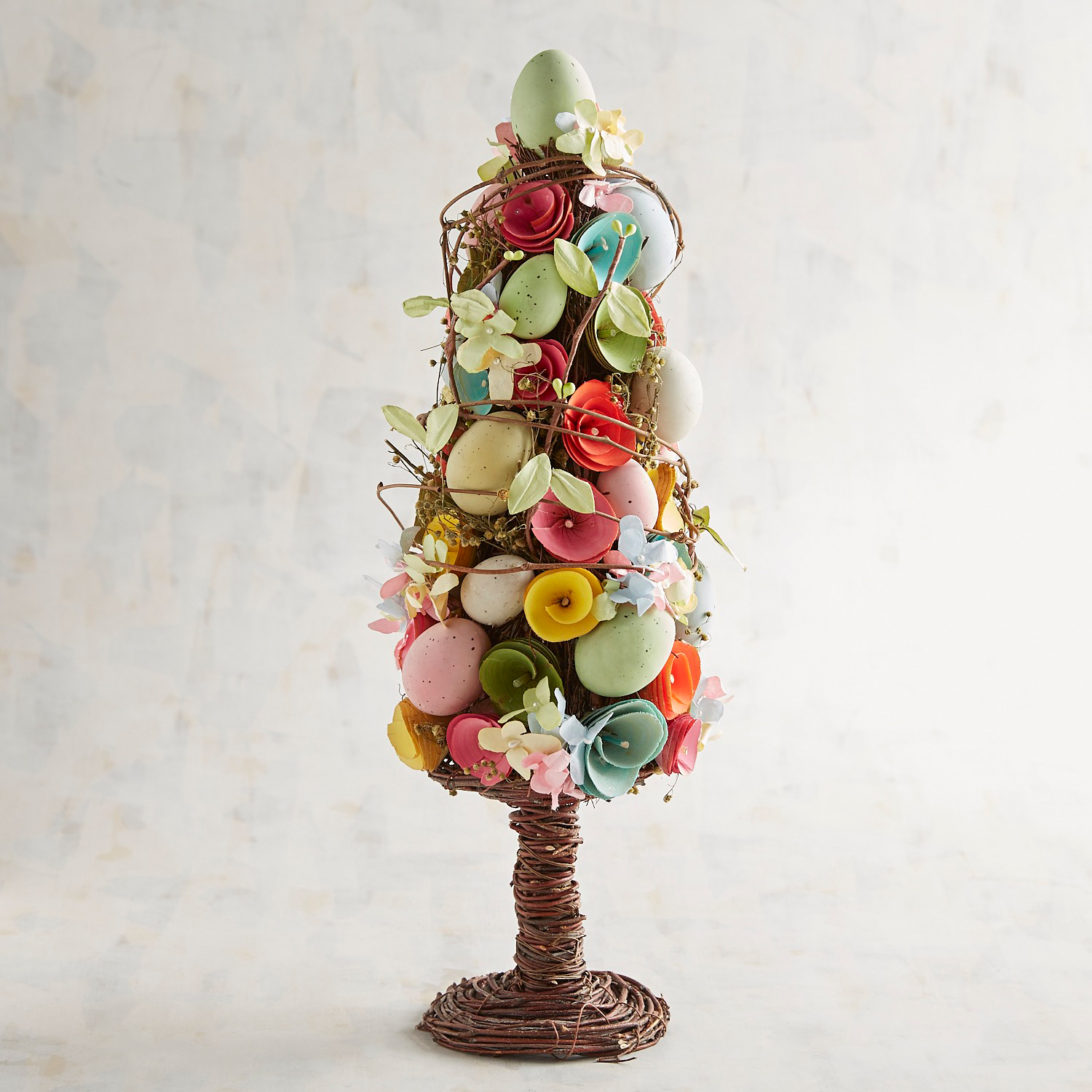 Faux Flower & Easter Egg Wood Curl Topiary