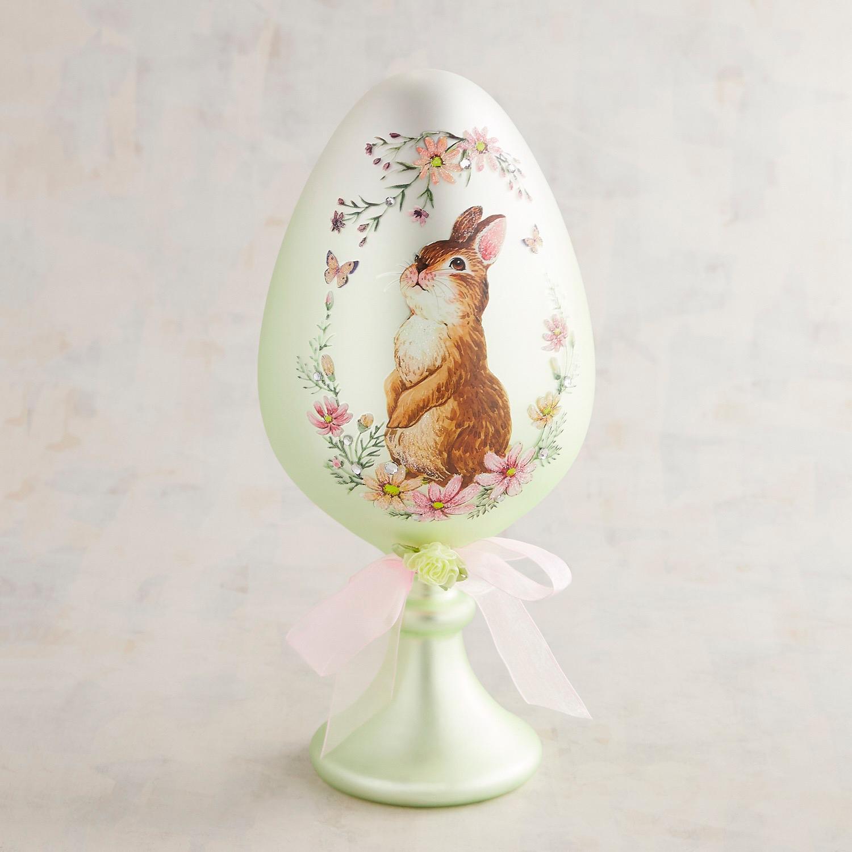Rabbit & Jewels Glass Egg