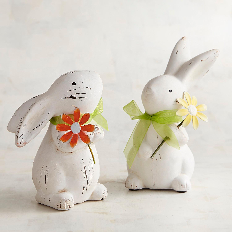 Ceramic Bunnies with Flowers Set