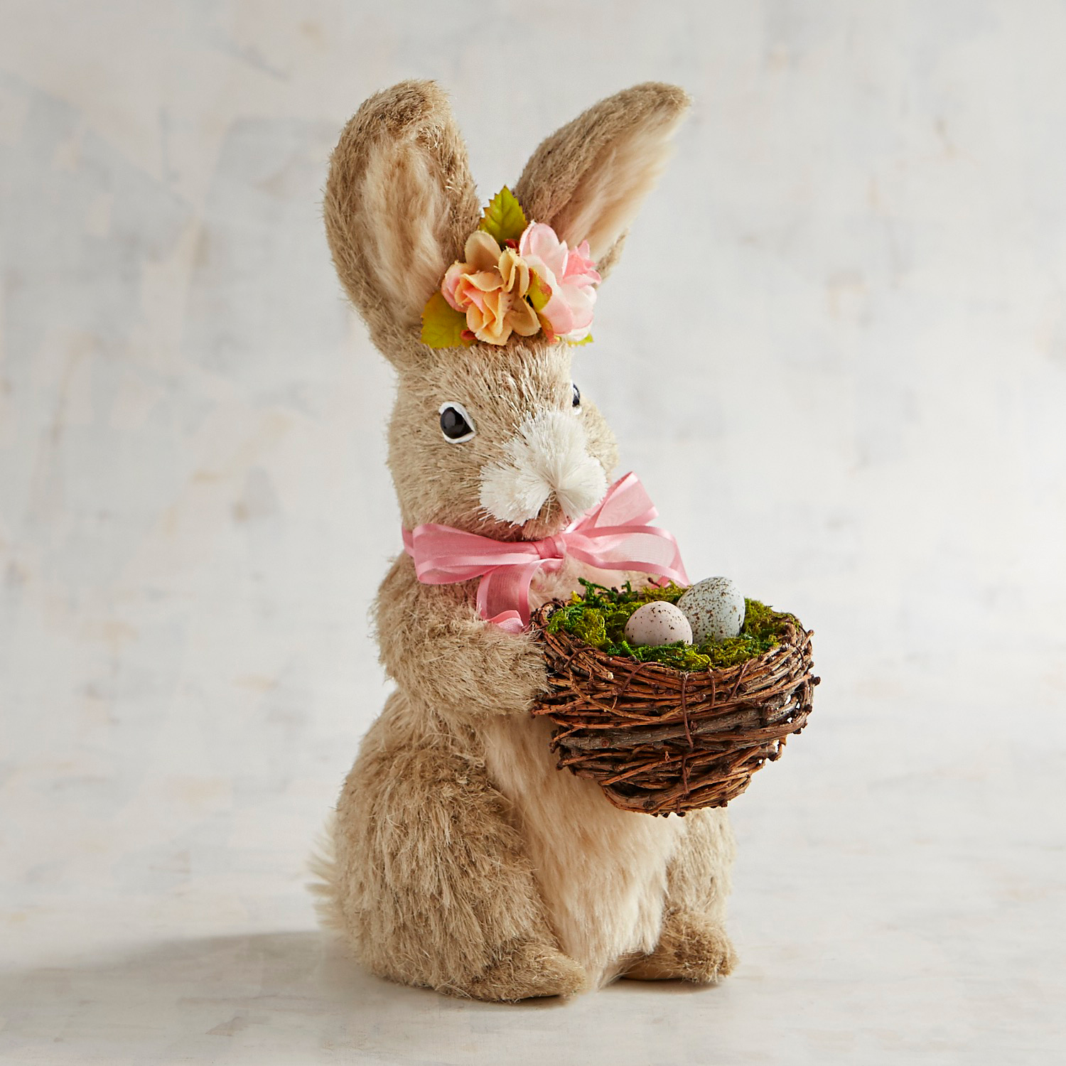 Fiona the Natural Bunny with Flower Garland & Basket of Eggs