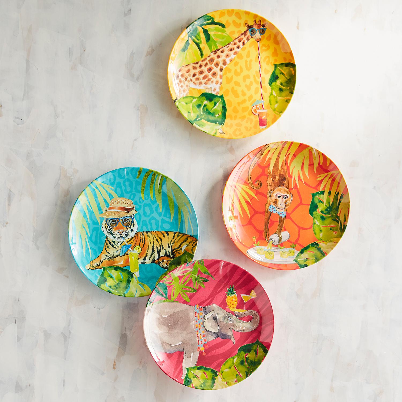 Safari Jungle Party Melamine Salad Plate Set of 4