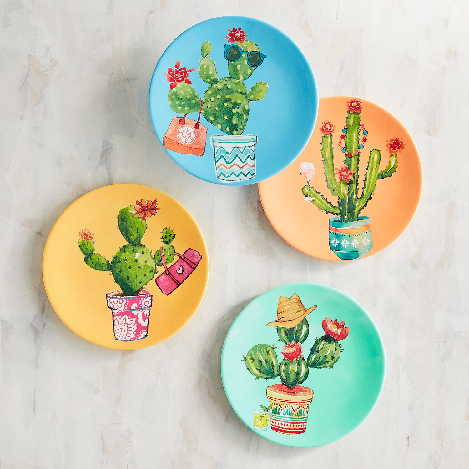 Fun Cactus Melamine Appetizer Plate Set of 4