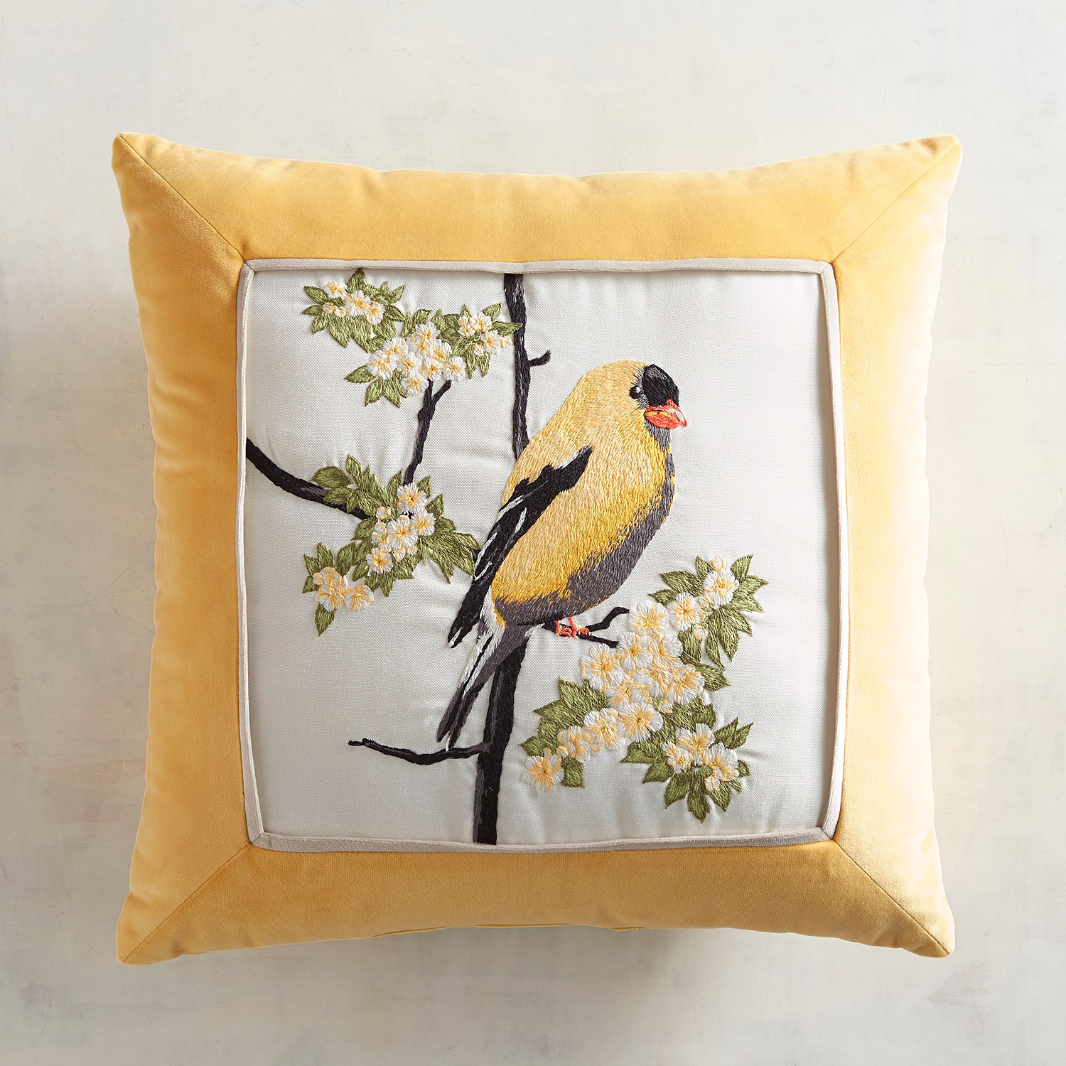 Embroidered Goldfinch Pillow