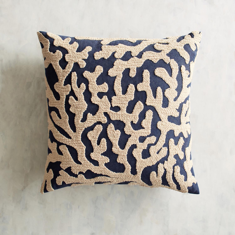 Embroidered Coral Indigo Pillow