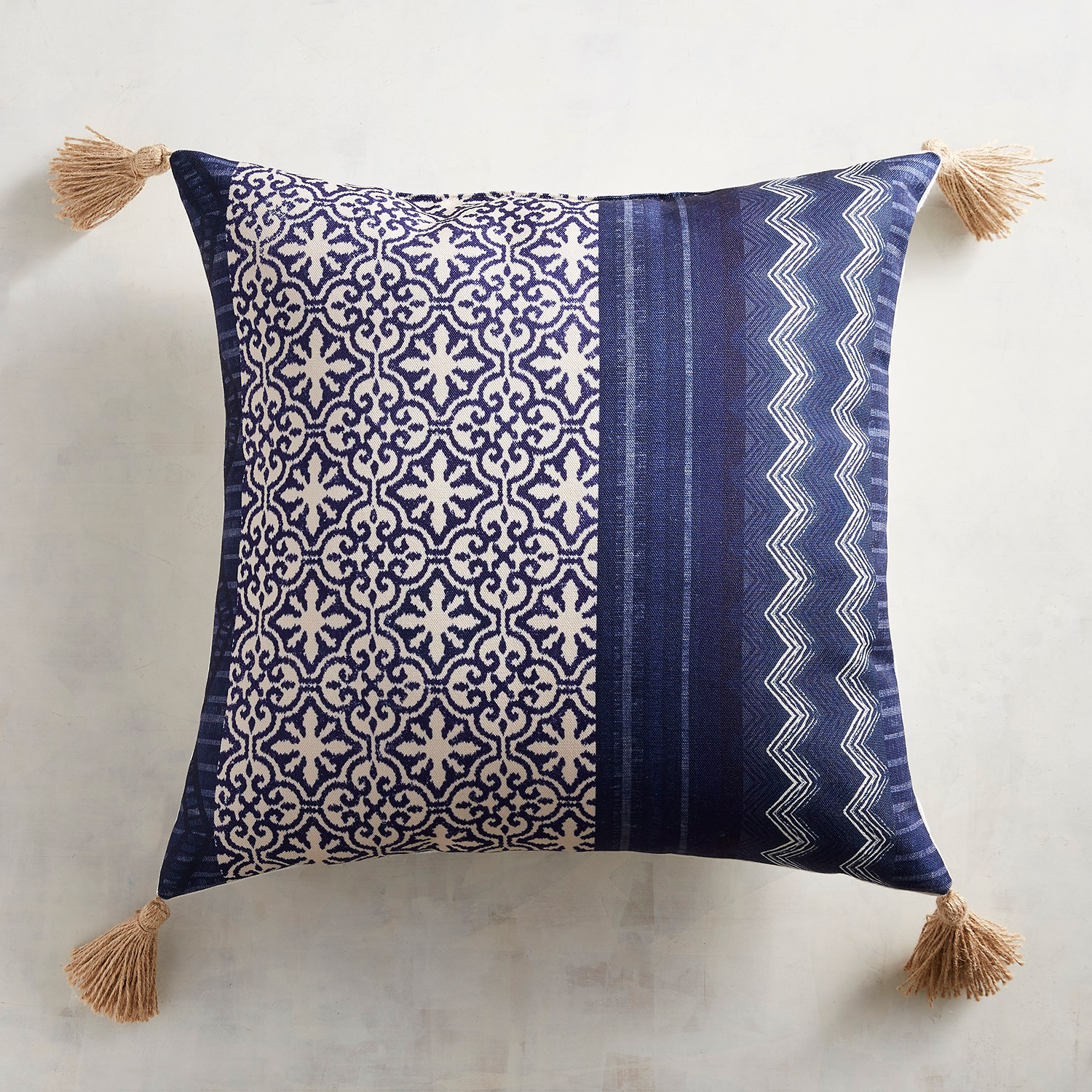 variation thumbnail of Indigo Batik Tasseled Pillow