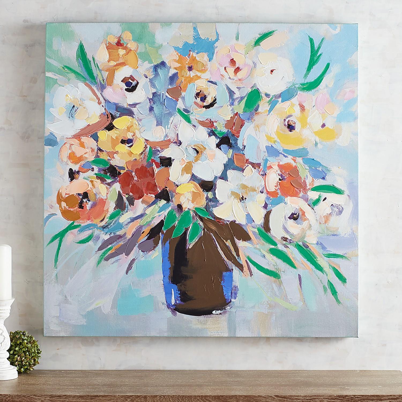 Send Joy Flower Bouquet Canvas Wall Art