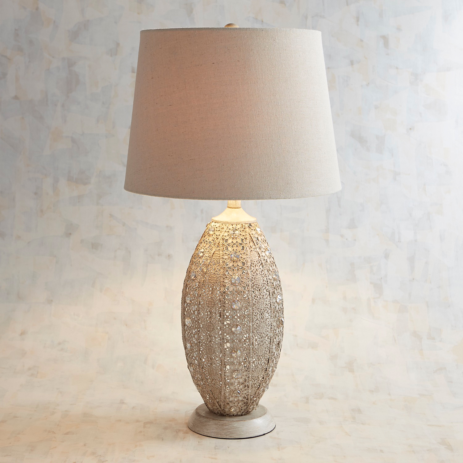 Rustic Lace Beaded Table Lamp