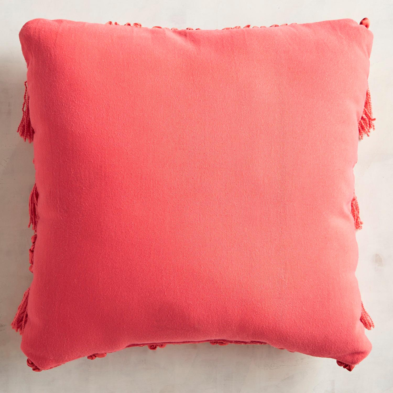 Chindi Fringed Coral Pillow