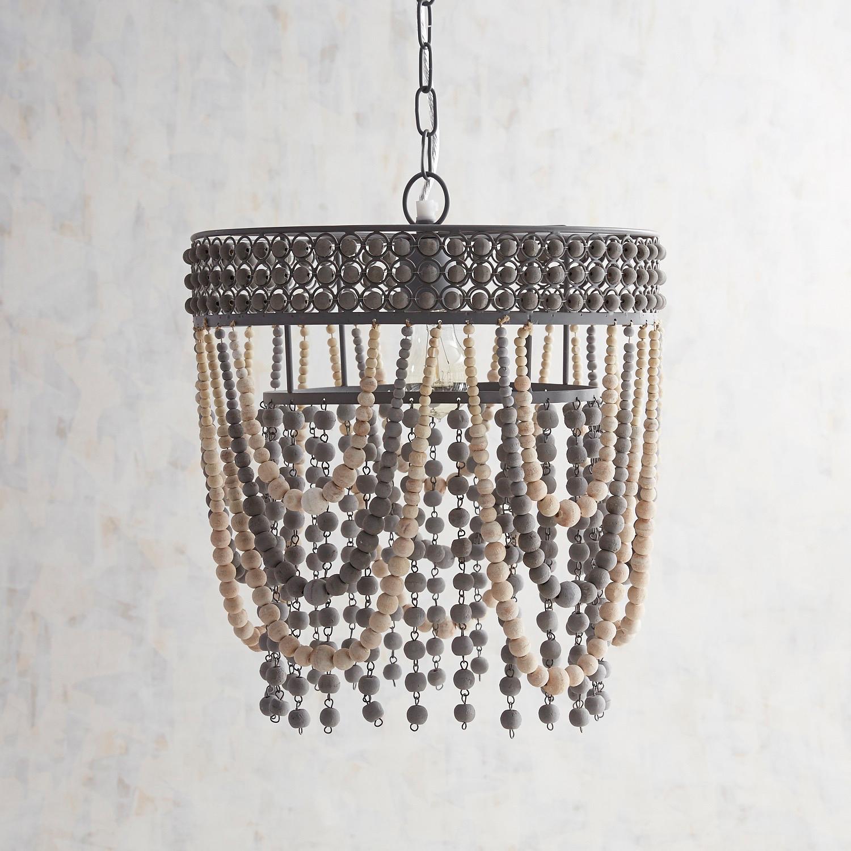 Keslie Gray Wooden Bead Pendant Light