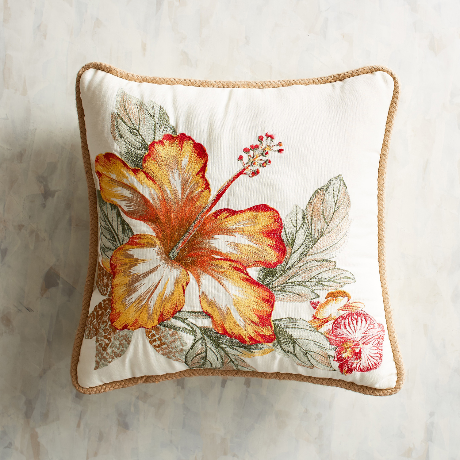 Embroidered Hibiscus Pillow
