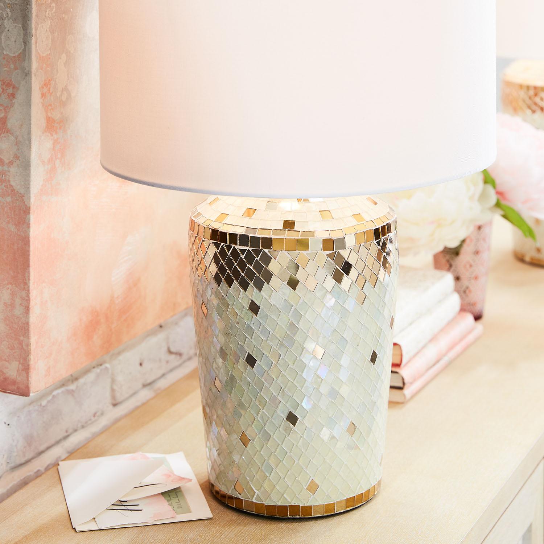 Kiara White & Gold Mosaic Table Lamp