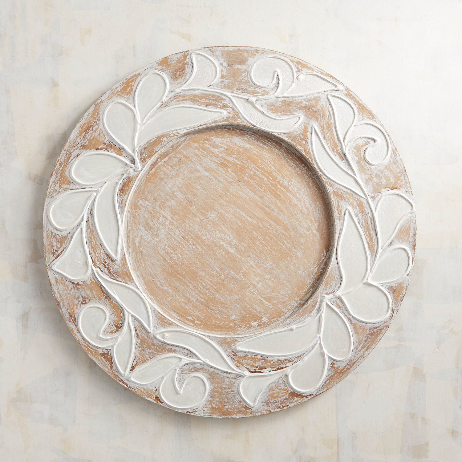 Whitewashed Painted Filigree Wooden Charger Plate