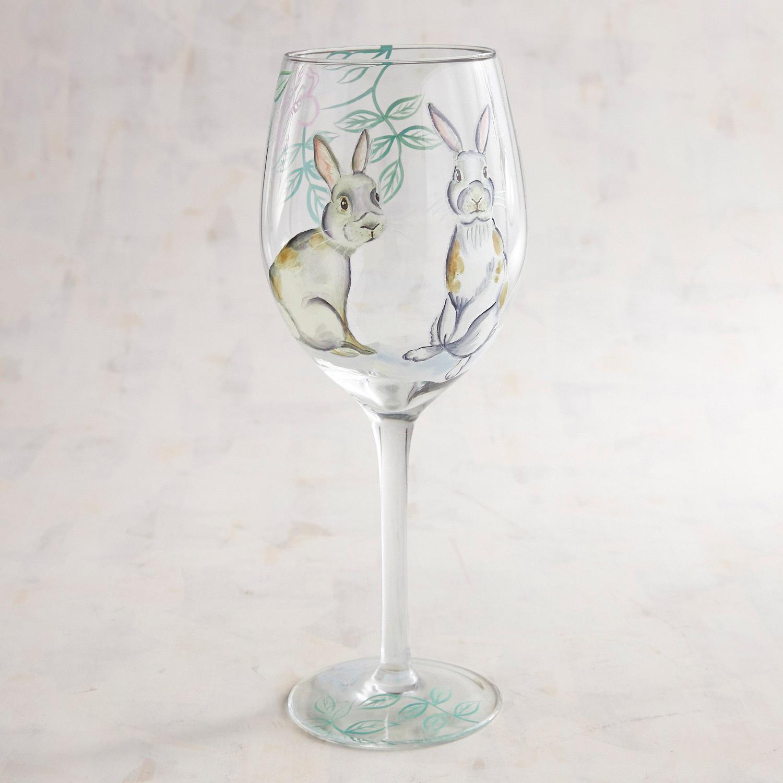 Elegant Gray Bunnies Hand-Painted Wine Glass
