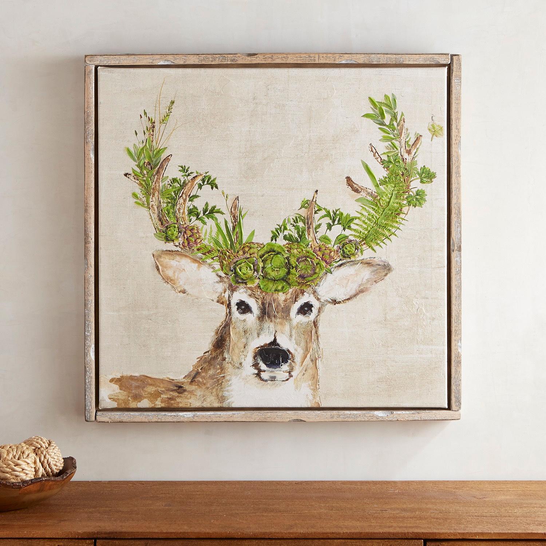 Green Floral Deer Framed Art