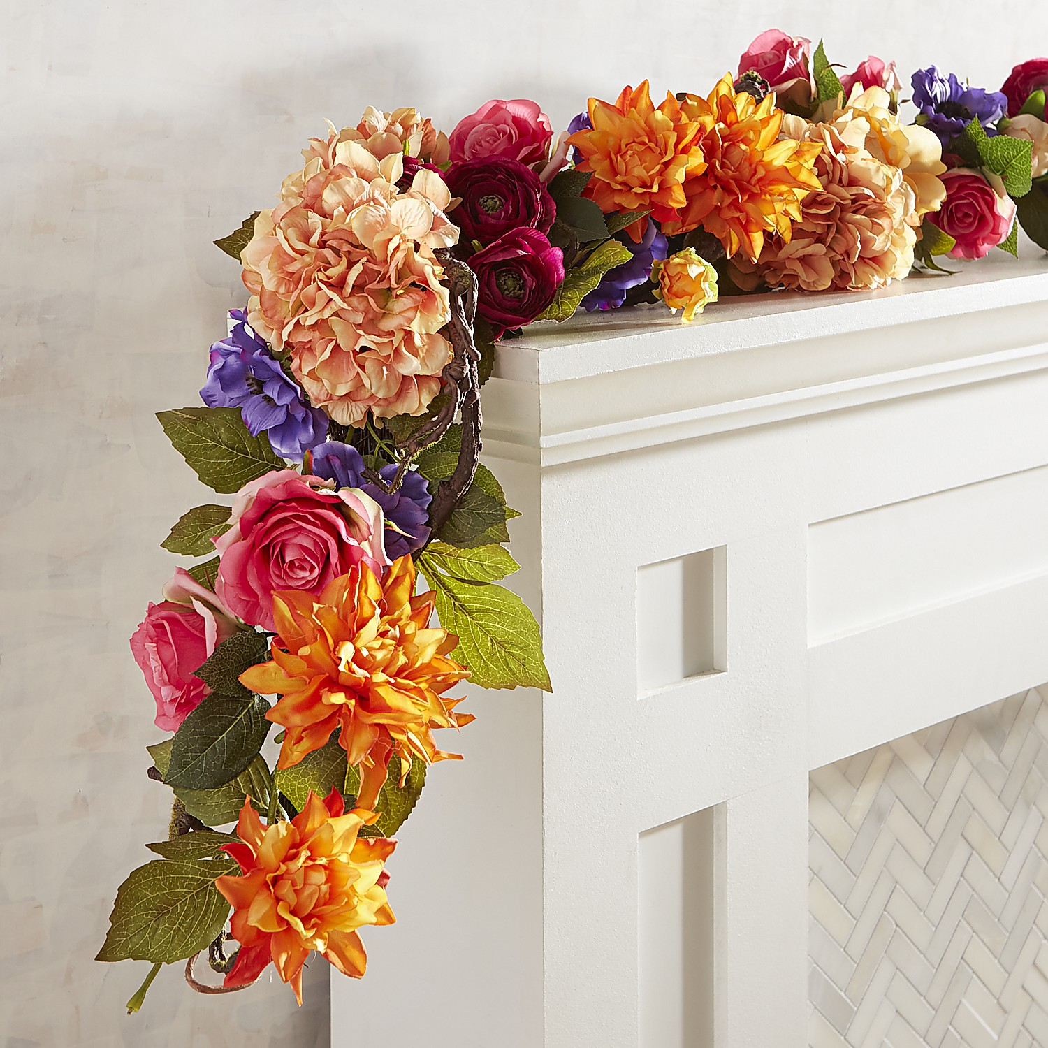 Luxe Bold Spring Faux Florals 6' Garland