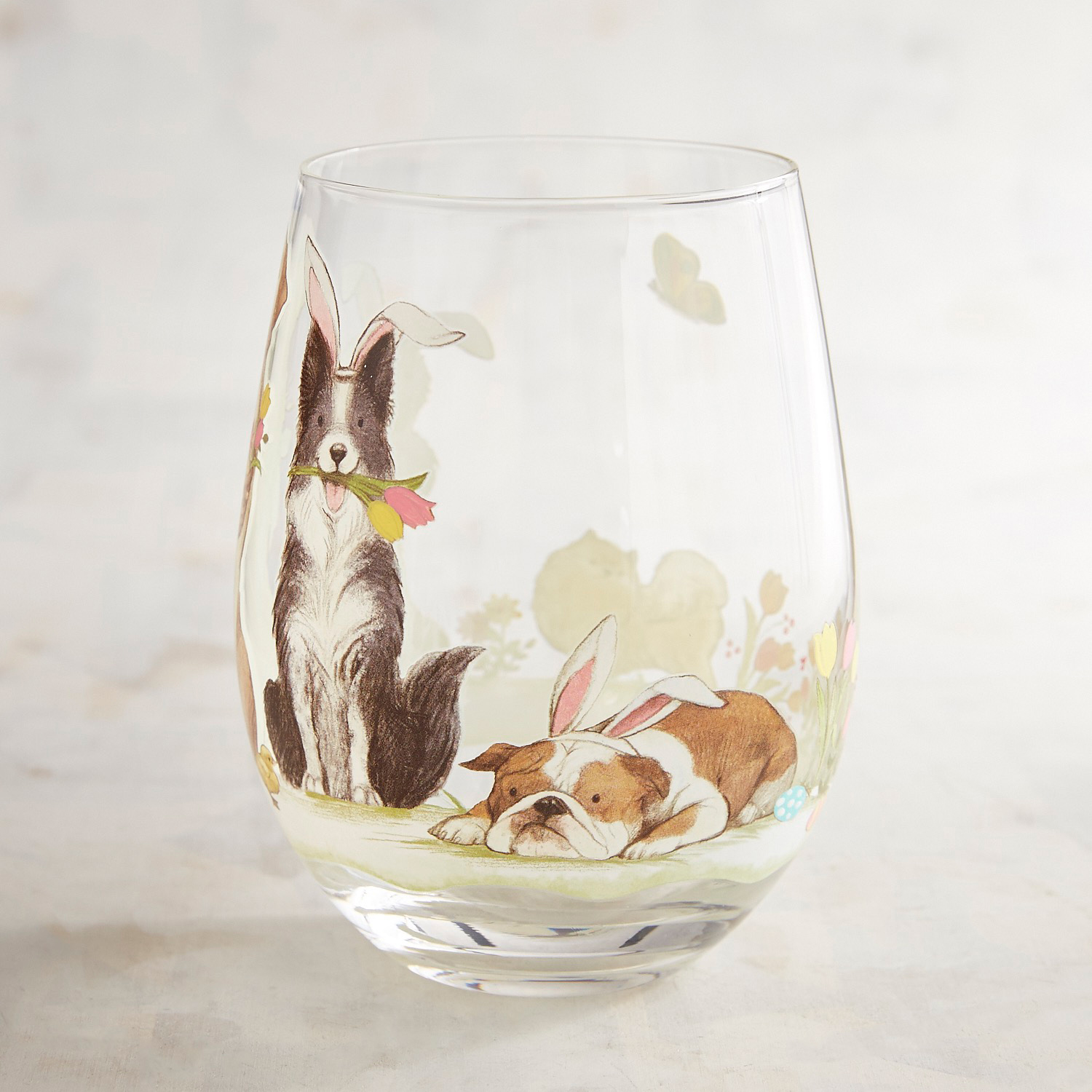 Easter Pups Hand-Painted Stemless Wine Glass