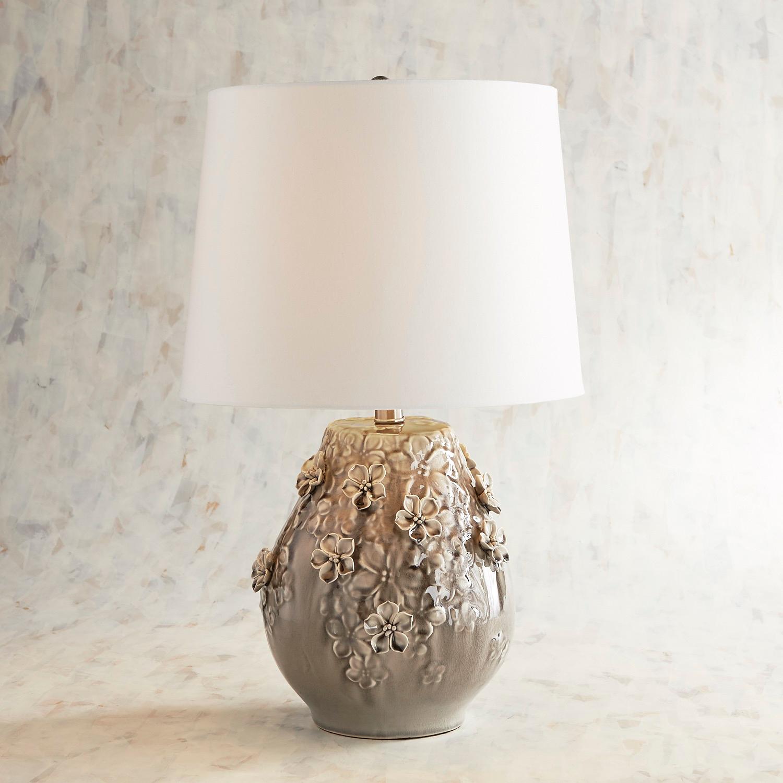 Blooming Ceramic Small Gray Table Lamp