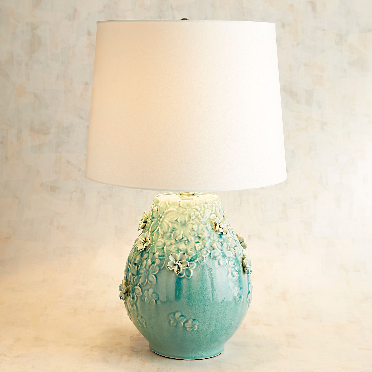 Blooming Ceramic Small Blue Table Lamp