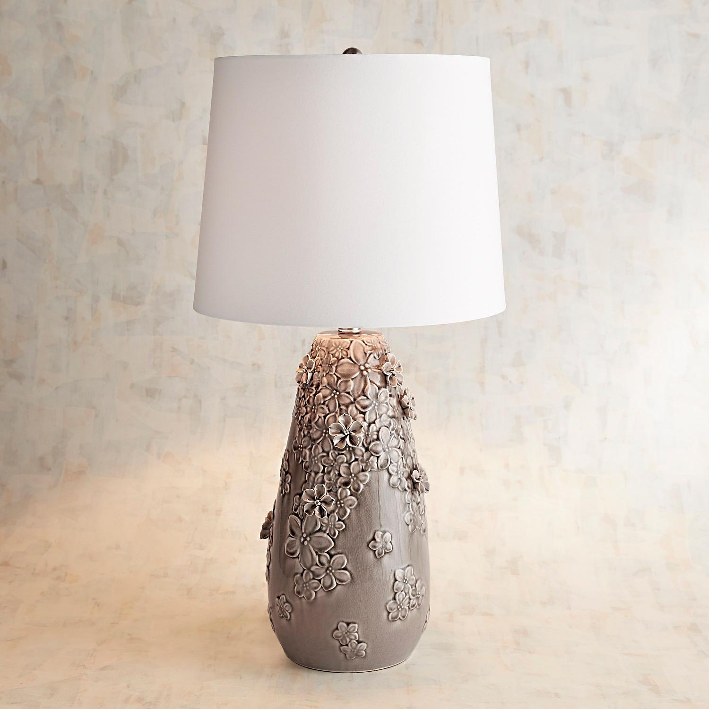 Blooming Ceramic Large Gray Table Lamp