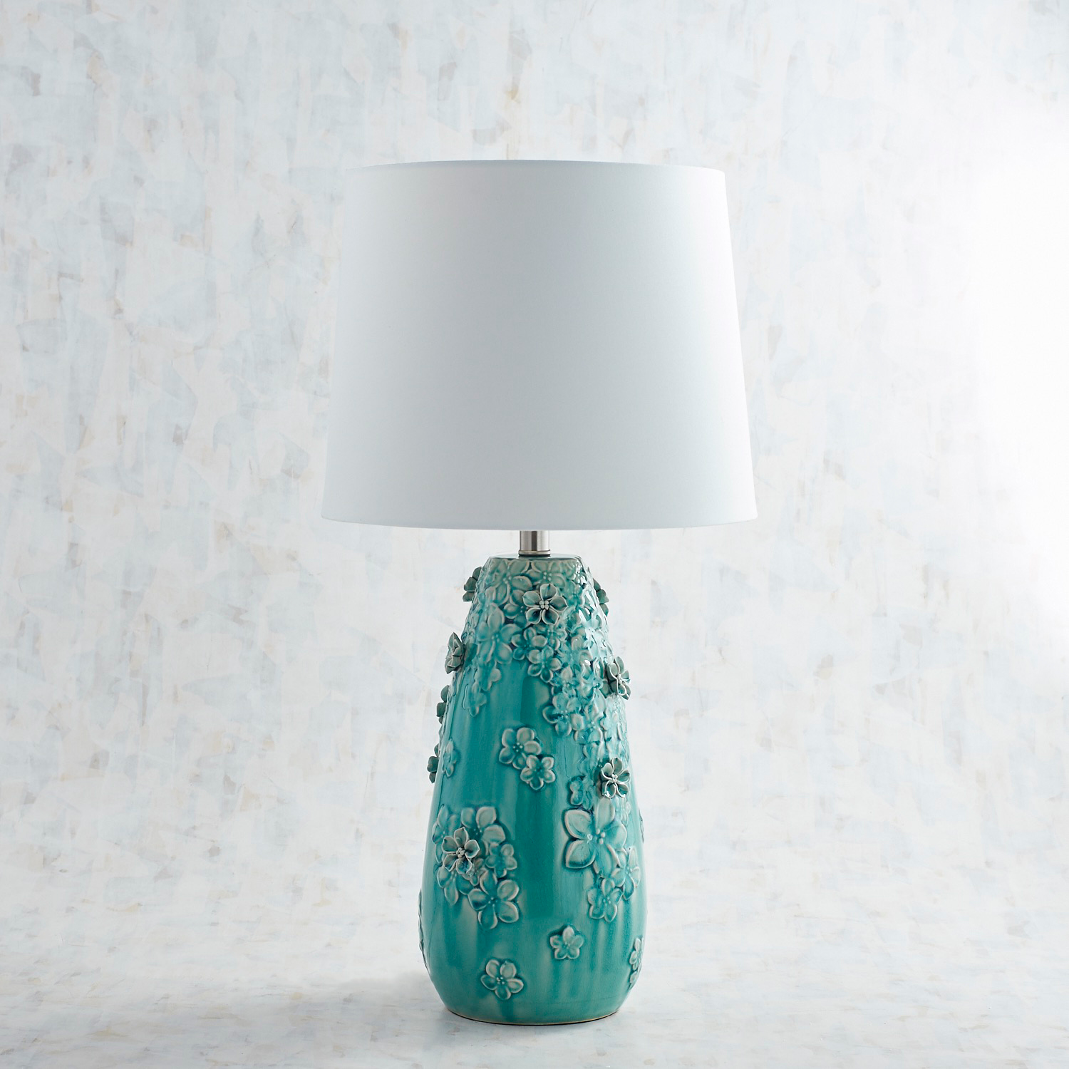 Blooming Ceramic Large Blue Table Lamp