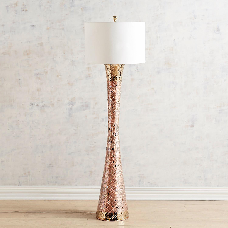 Kiara Blush & Gold Mosaic Floor Lamp