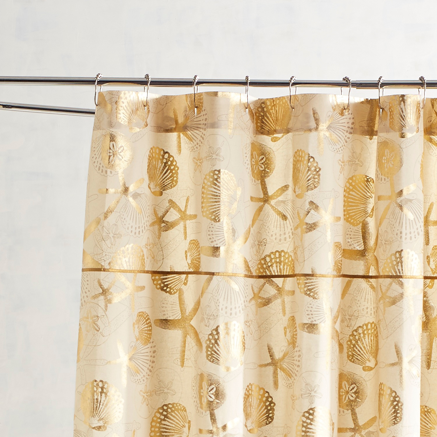 variation thumbnail of Foiled Coastal Gold Shower Curtain