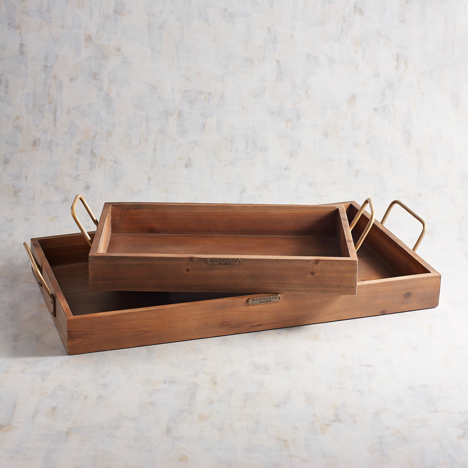 Magnolia Home Breakfast Tray with Metal Handles, Set of 2