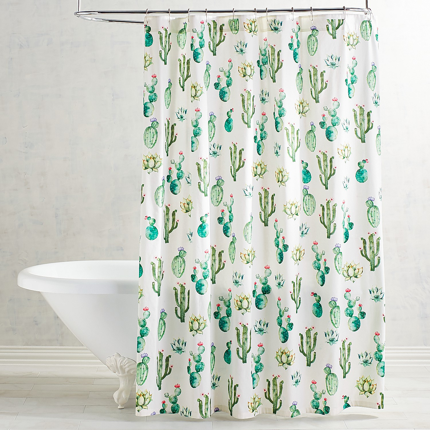 Watercolor Cactus Shower Curtain