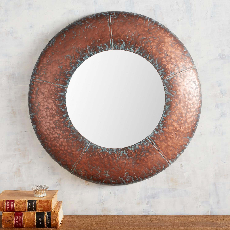 "Rustic Copper 29.75"" Round Mirror"