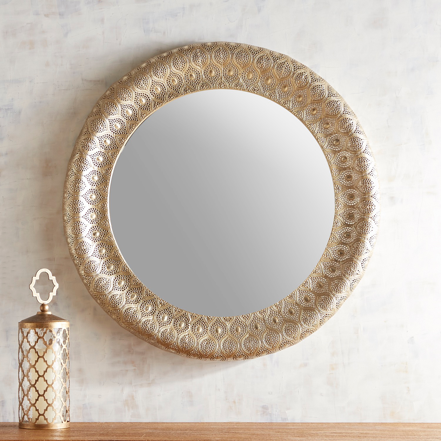 "Golden Punched Metal 32"" Round Mirror"