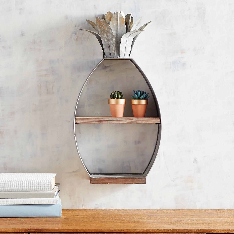 Galvanized Pineapple Wall Shelf
