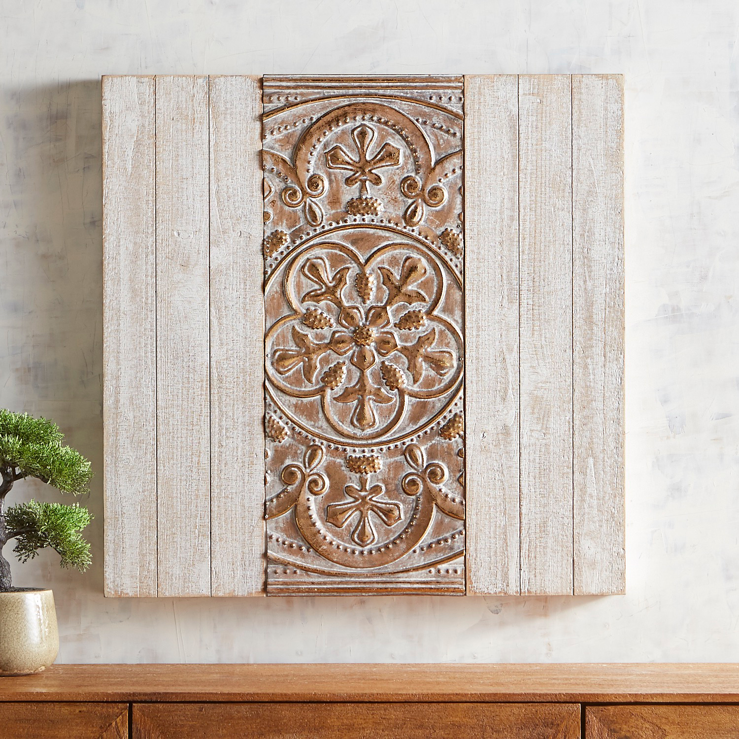 Golden Embossed Square Wall Panel