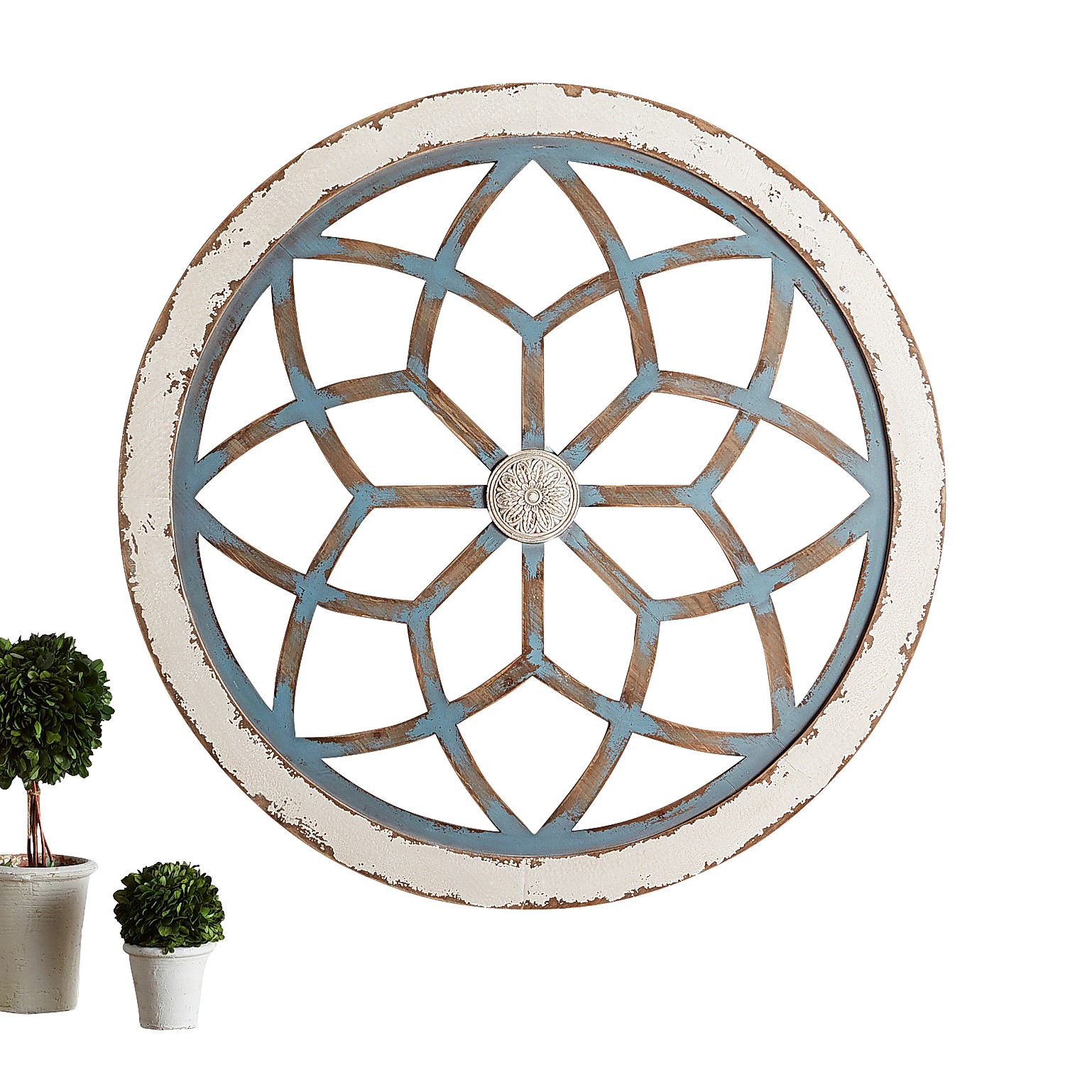 Blue Wash Round Geometric Flower Wall Decor