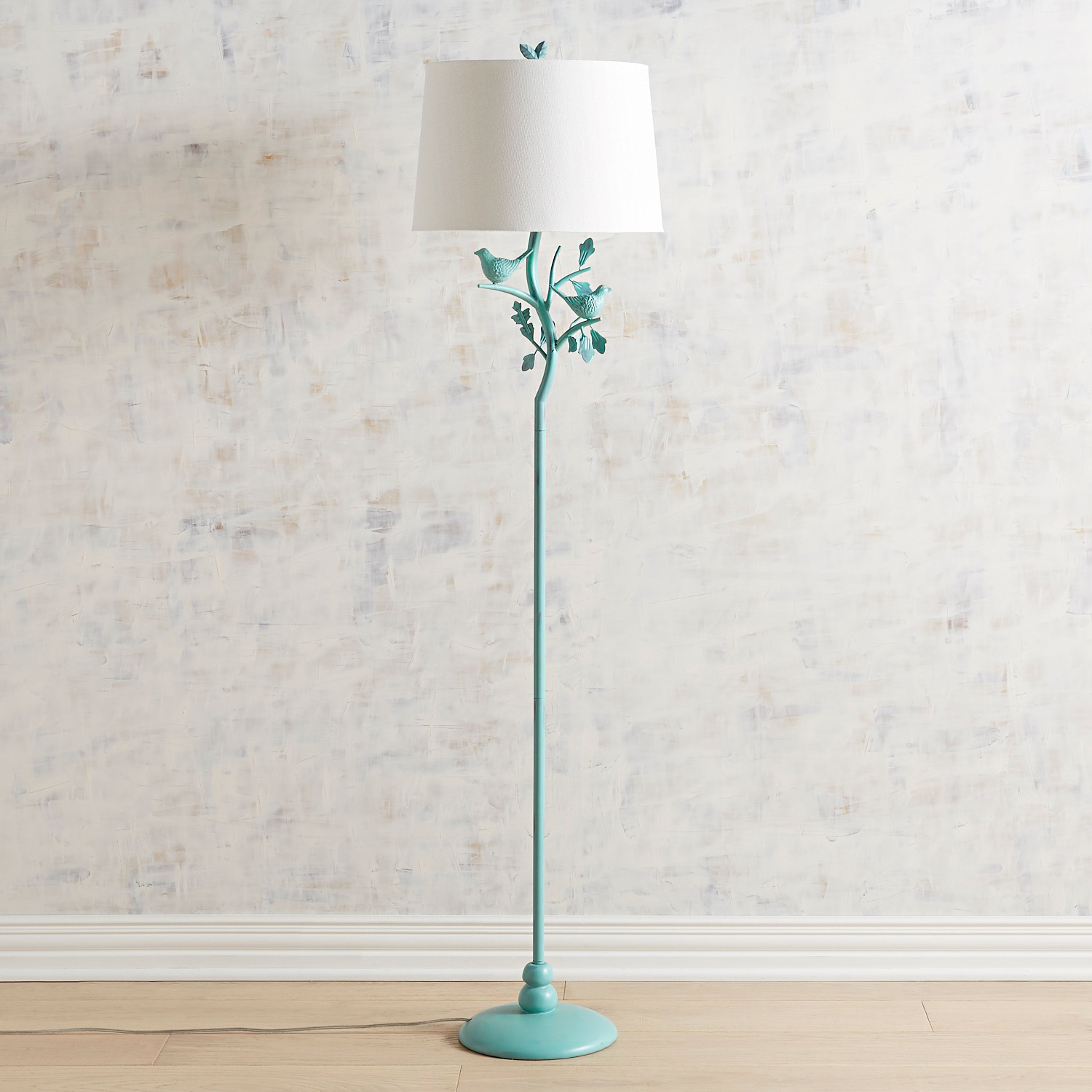Turquoise Antiqued Bird Floor Lamp