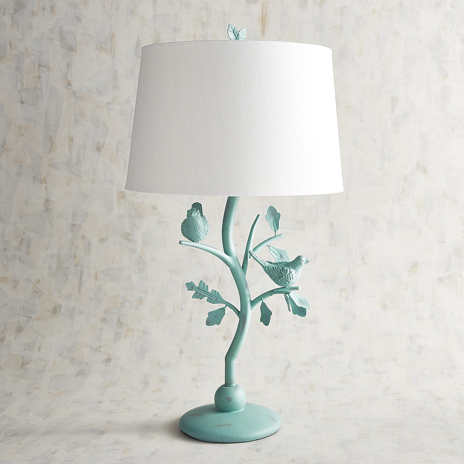 Turquoise Antiqued Bird Table Lamp
