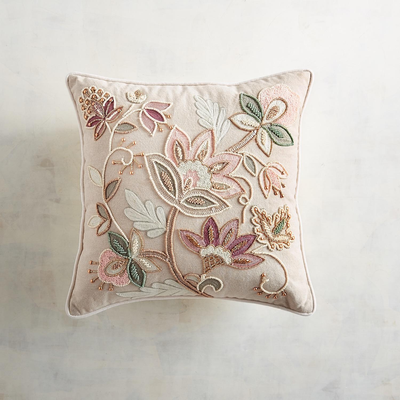 Embellished Blush Jacobean Floral Pillow