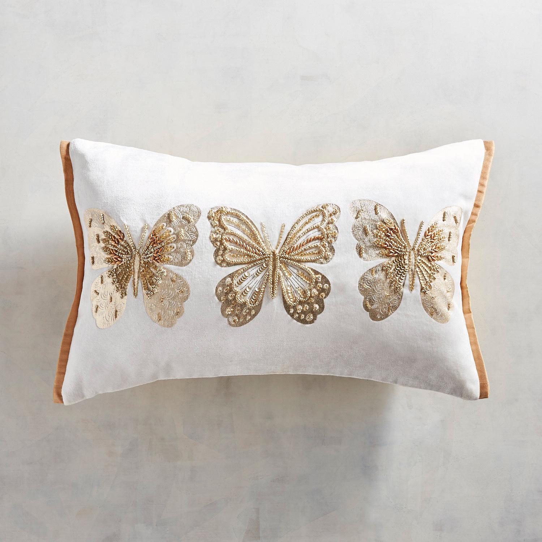 3 Golden Butterflies Lumbar Pillow