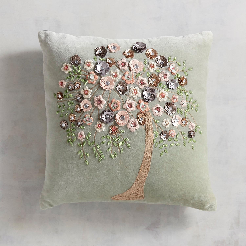Embellished Floral Tree Pillow