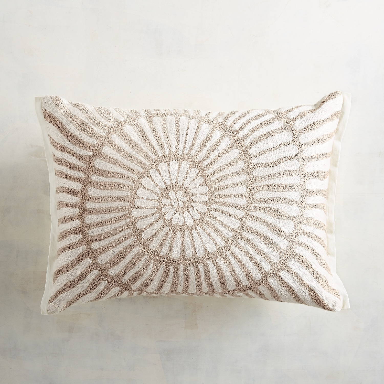 Embroidered Natural Shell Lumbar Pillow