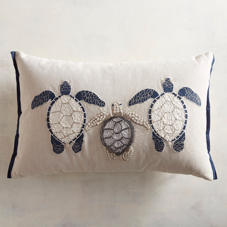 Embroidered Three Turtles Lumbar Pillow