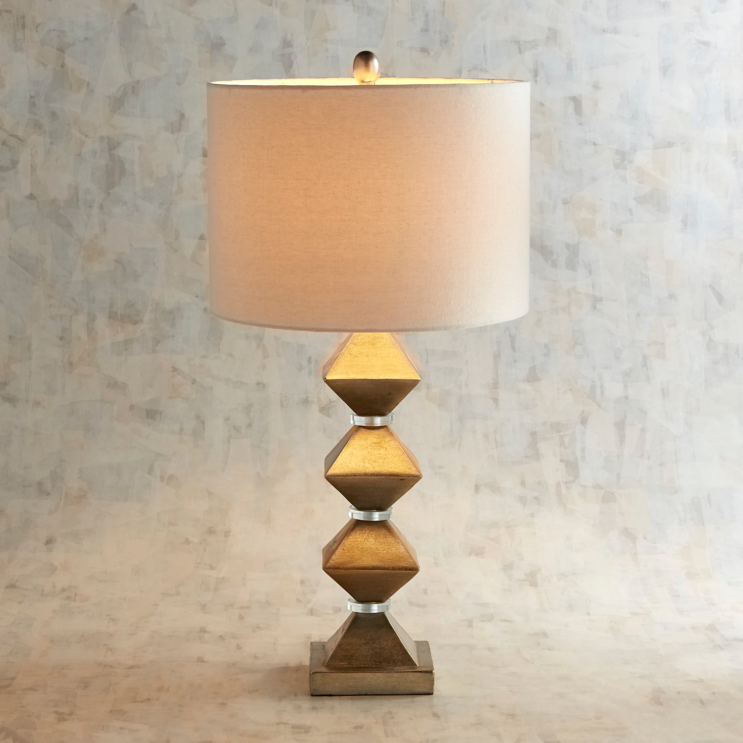 Golden Stacked Diamond Table Lamp