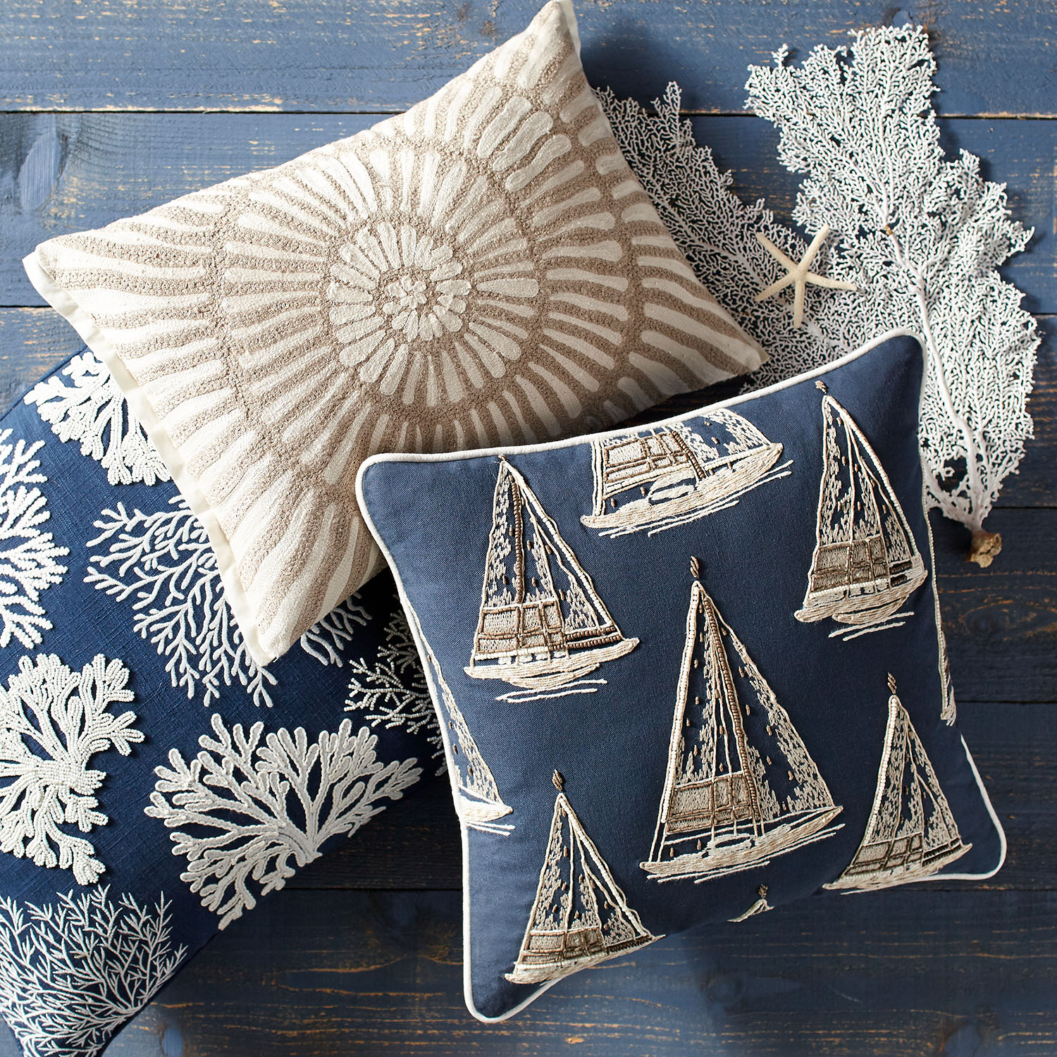 Beaded Coral Navy Pillow