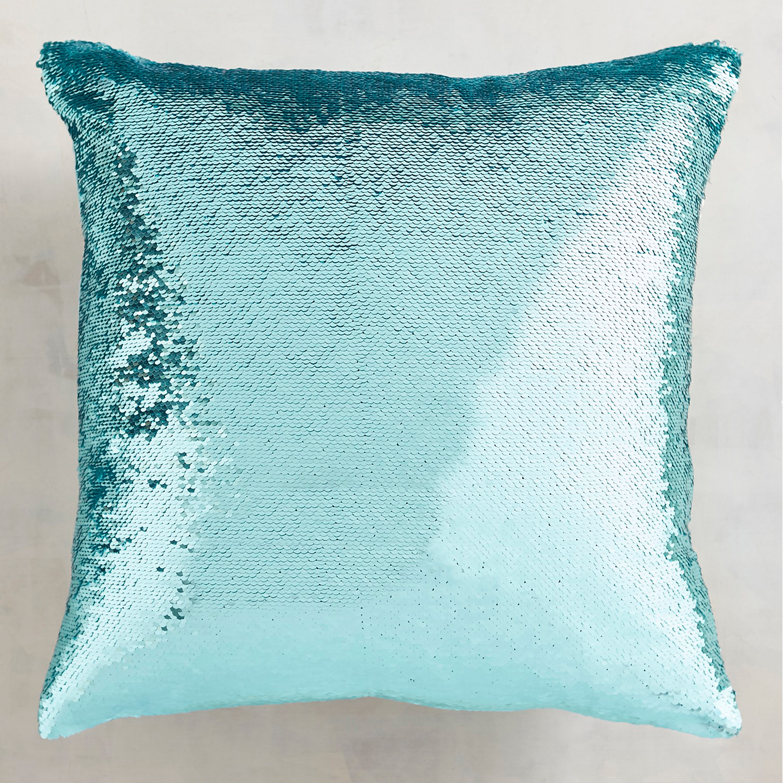 Aqua & Silver Reversible Sequins Mermaid Pillow