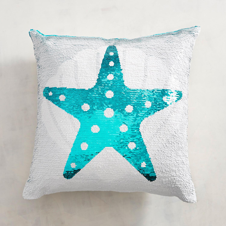 Seashell & Starfish Reversible Sequined Mermaid Pillow
