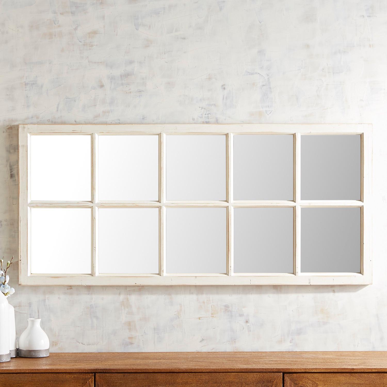 Whitewashed Window Mirror