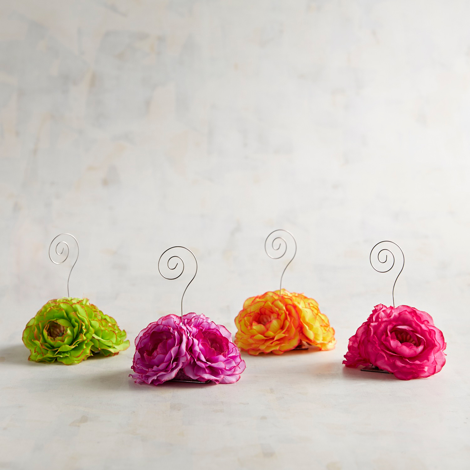 Faux Floral Place Card Holders, Set of 4