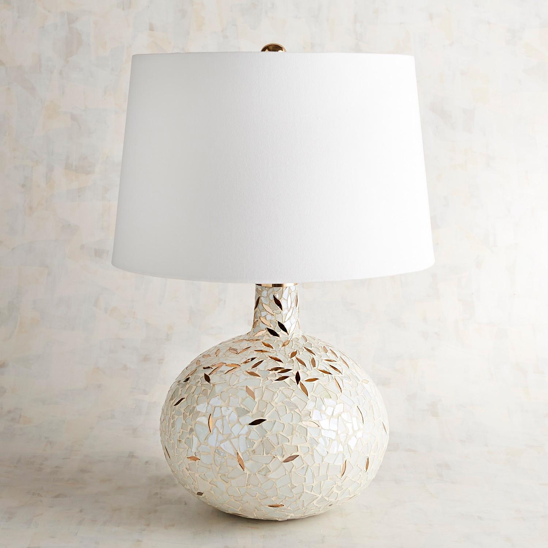 Falling Mosaic Gold & Ivory Table Lamp