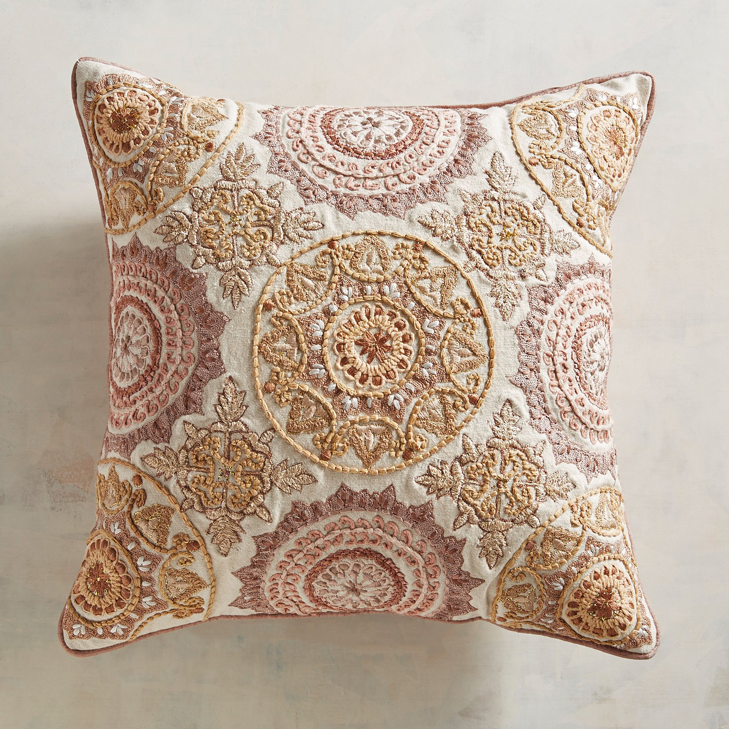 Embroidered Blush Medallions Pillow